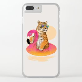 Chillin (Flamingo Tiger) Clear iPhone Case