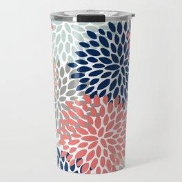 Floral Bloom Print, Coral, Pink, Pale, Aqua, Blue, Gray, Navy Travel Mug