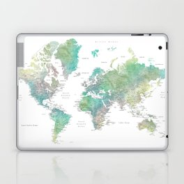 Watercolor world map in muted green and brown Laptop & iPad Skin