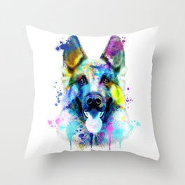 German Shepherd Watercolor, Watercolor Dog print, German Shepherd Print, German Shepherd Art Throw Pillow