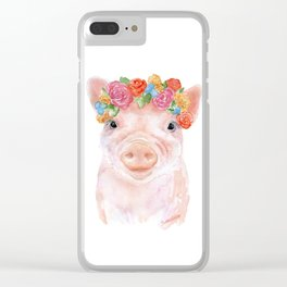 Piglet Floral Watercolor Clear iPhone Case