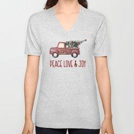 Vintage Toy Truck Peace Love & Joy Unisex V-Neck