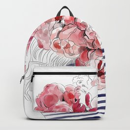 Back from the flower market - Peonies bouquet illustration Backpack