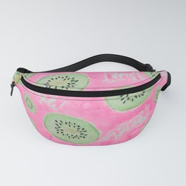 Watercolor Kiwi Slices in Neon Pink Punch Fanny Pack