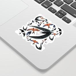 Swallows Martins and Swift pattern Yellow Sticker