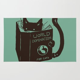 World Domination for Cats (Green) Rug