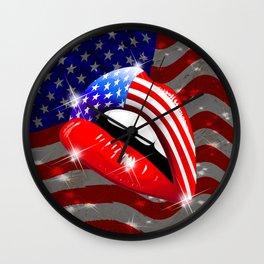USA Flag Lipstick on Sensual Lips Wall Clock