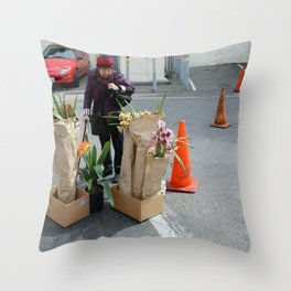 Caution - Orchid Crossing Throw Pillow
