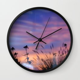 LOOK OUTSIDE - Flowers & Sunset #1 #art #society6 Wall Clock