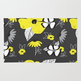 Yellow and Black Drawn Flowers on Gray Rug