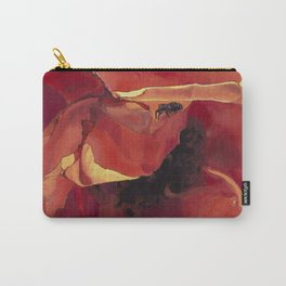 Bug On A Rose - Fire Orange Coral Carry-All Pouch