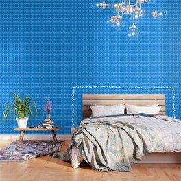 Fleur de lis blue mono chroma Wallpaper