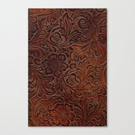 Burnished Rich Brown Tooled Leather Canvas Print