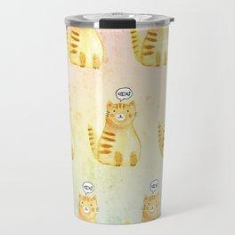 Watercolor Orange Cat Travel Mug