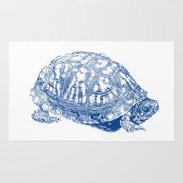 box turtle drawing, blue Rug