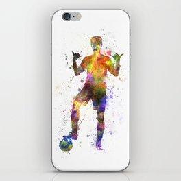 soccer football player young man saluting iPhone Skin