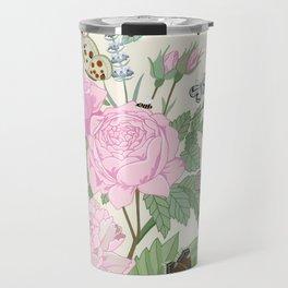 Pink flowers and butterflies Travel Mug
