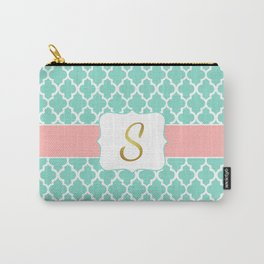 Mint Moroccan Pattern with Coral Accent Carry-All Pouch