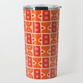 Mid Century Abstract Pattern Orange & Red Travel Mug
