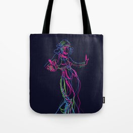 Tribal fusion dance color power. Abstract. Neon glowing  gesture sketch Tote Bag