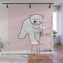 White bear on pink background Wall Mural