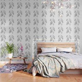 Eucalyptus Branches II Black And White Wallpaper