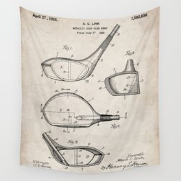 Golf Driver Patent - Golf Art - Antique Wall Tapestry