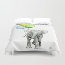 Elephant Watercolor Baby Animal with Balloons Blue Yellow Green Duvet Cover