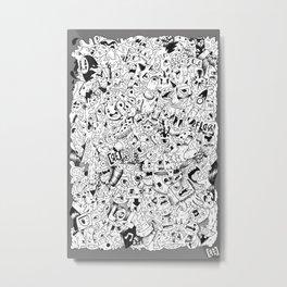 """""""monster invasion"""" doodle design Metal Print"""