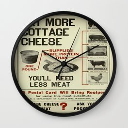 Vintage poster - Cottage Cheese Wall Clock