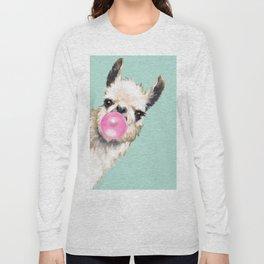 Bubble Gum Sneaky Llama in Green Long Sleeve T-shirt