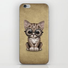 Cute Brown Tabby Kitten Wearing Eye Glasses iPhone Skin