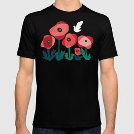 Poppy flowers and bird T-shirt