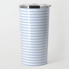 Mattress Ticking Narrow Horizontal Stripe in Pale Blue and White Travel Mug