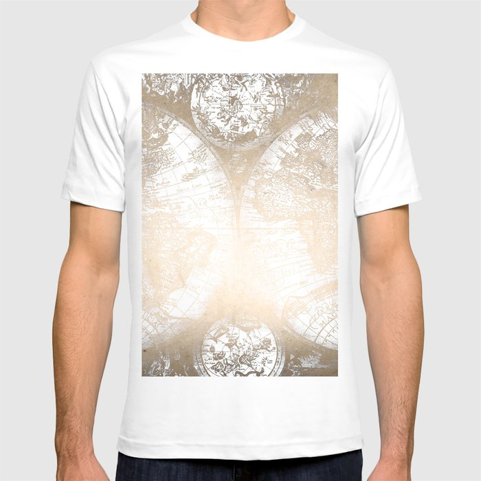 Antique white gold world map t shirt by naturemagick society6 antique white gold world map t shirt gumiabroncs Image collections