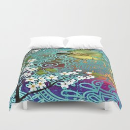 BIRD WITH CHERRY BLOSSOMS Duvet Cover