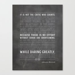 Man in the Arena Theodore Roosevelt Quote Canvas Print