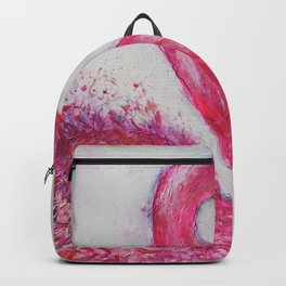 Hot Pink Flamingo vibrant mixed media with watercolor background Backpack