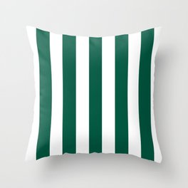 Castleton green - solid color - white vertical lines pattern Throw Pillow