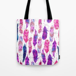 Watercolor Pink Blue Feathers V.02 Tote Bag