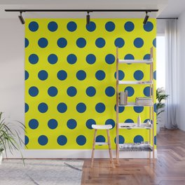 maize and blue polka dots Wall Mural