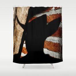 Shadowman on Brick Shower Curtain
