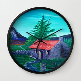 Red Roof Cottage Wall Clock