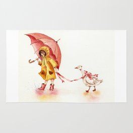 Rainy Day - Girl in a Yellow Rain Coat with Read Umbrella and with a Goose Rug