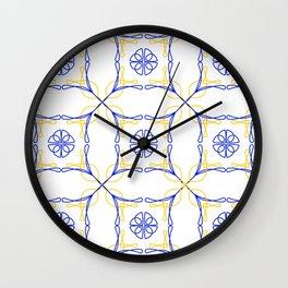 Azulejo Luso - Portuguese Tiles yellow Wall Clock
