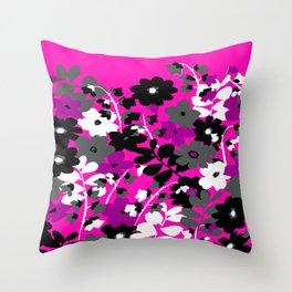 SUNFLOWER TOILE PINK BLACK GRAY WHITE PATTERN Throw Pillow