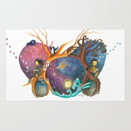 Heart Painting of Girl and Boy on Different Planets And the Galaxy Between Their Trees Rug