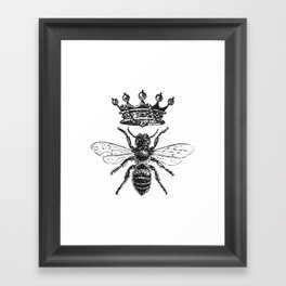 Queen Bee | Vintage Bee with Crown | Black and White | Framed Art Print