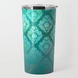 """""""Turquoise Ocean Damask Pattern"""" Travel Mug"""