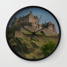 Edinburgh Castle Scotland Travel Poster Vintage Style Wall Clock